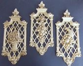 Syrocco Gold Wall Plaques, Wall Hangings, Wall Decor, Made in USA, Gourds In Cornucorpia 1972