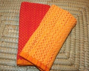 Handwoven Towel in Orange - Orange Citrus Handwoven Kitchen Towel - Orange Citrus Hand Towe