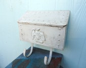 Vintage Mail Box Shabby White Architectural Mailbox Wall Mount Hobnail Eagle Accent