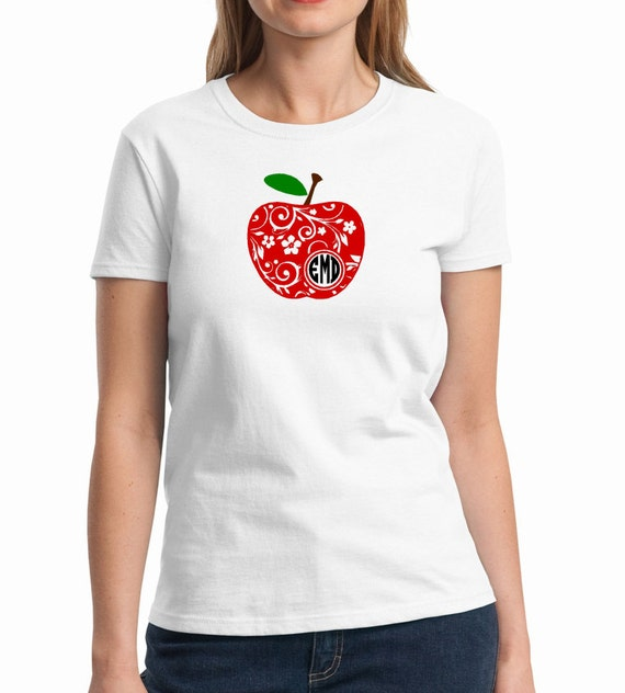 Teacher Shirt Monogram Apple Shirt Personalized Teacher