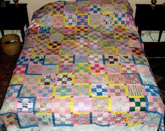 "ANTIQUE QUILT TOP 90""x76"",vintage, 9 patch, queen, double, fine,flowers,geometric,peach,blue,pink,olive,yellow,green,navy,orange,violet,rust"