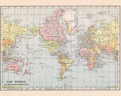 World map 1915.  Large printable digital download in pastel colors.  DIY interior design wall hanging.  Vintage style.