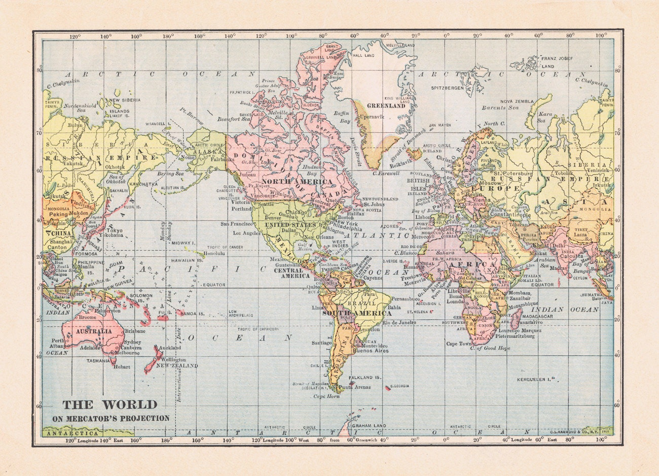 World map 1915. Large printable digital download in pastel