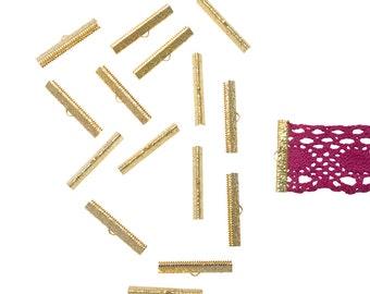 150pcs.  38mm  ( 1 1/2 inch )  Gold Ribbon Clamps - Artisan Series