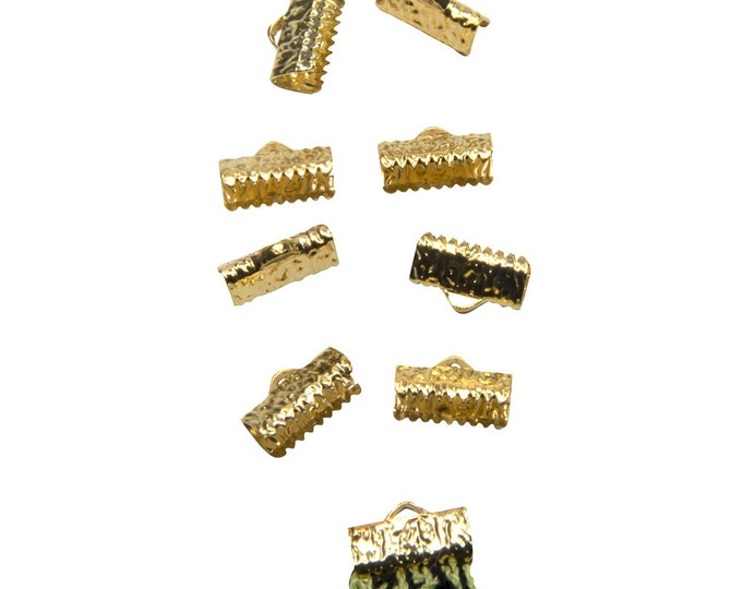 50pcs.  13mm  (1/2 inch)  Gold Ribbon Clamp End Crimps - Artisan Series