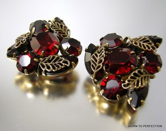 Kramer of New York Ruby Red Rhinestone Earrings with Gold Filigree Leaves
