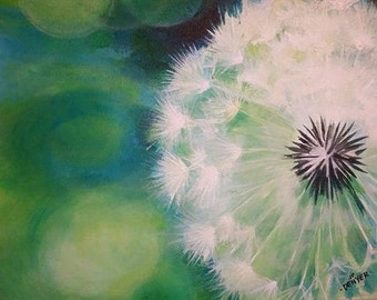 Dandelion Meditative Acrylic Therapeutic Soothing Fine Art Painting White Green Floral Wedding Gift Housewarming Gift Birthday Holiday Love
