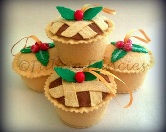 Felt life sized scented and sugared lattice topped mince pie christmas tree ornament decoration