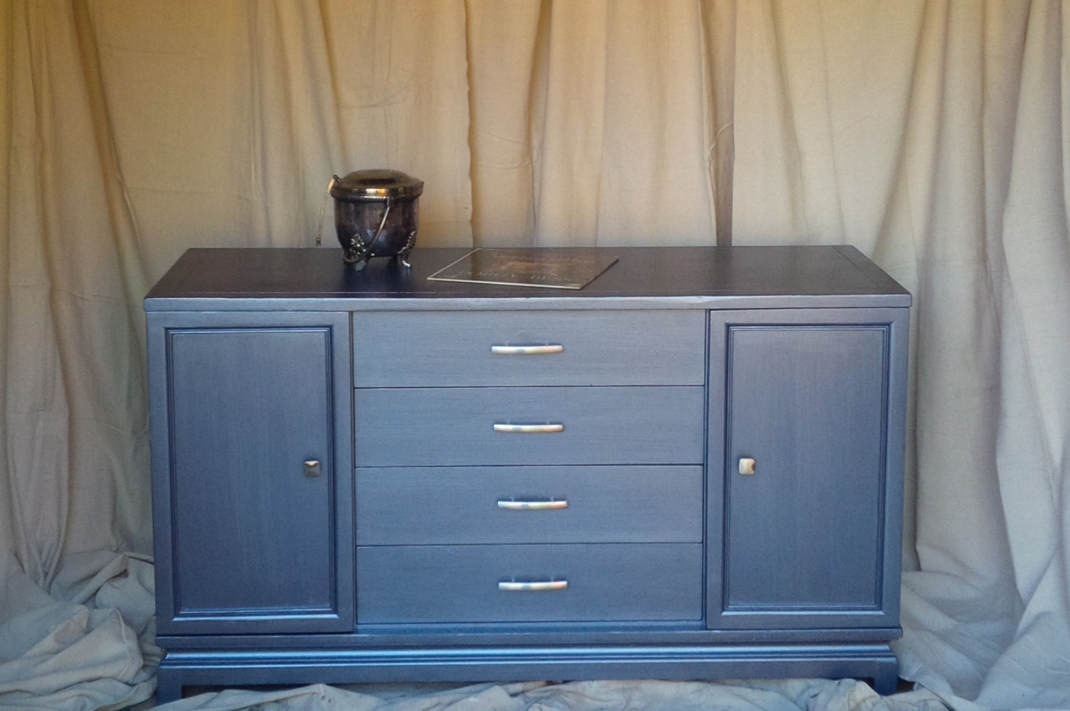 soho credenza metallic blue vintage poppy cottage painted furniture