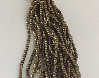 RARE - Antique Steel Cut  MICRO Beads  - 1 hank - Bronze