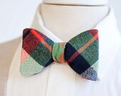Bow Ties, Bow Tie, Bowties, Mens Bow Ties, Freestyle Bow Ties, Self-Tie Bow Ties, Groomsmen Bow Ties, Ties - Navy, Green, And Orange Plaid