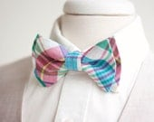 The Beau- men's organic madras multi plaid double stacked pre-tied bow tie // wedding bow ties // groomsmen bow ties // custom neckties