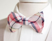The Beau- men's organic madras navy, coral, and blush plaid double stacked pre-tied bow tie // groomsmen bow ties // custom bow ties