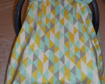 Lime Green, Gray, Aqua, and White Triangle Design Cotton and Aqua Cuddle Baby Carrier Cover