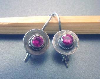 Ruby Dangle Drop Vintage Sterling Silver Earrings Pink Gemstone Jewelry