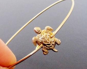 Turtle Bracelet - Gold, Turtle Bangle Bracelet, Turtle Jewelry, Animal Bracelet, Animal Jewelry, Reptile Jewelry, Turtle Charm Bracelet