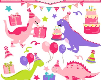 ON SALE birthday pink dinosaurs clip art, Dinosaur Digital clip art, Dino clip art, girl dinosaur clip art, cute dinosaur, INSTANT Download