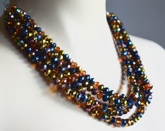 Five strand multi colored crystal necklace, multi strand necklace, crystal jewelry, Arabian tapestry crystal