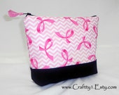 BC Ribbons on Pink Chevrons - Ladies Zip Pouch (MEDIUM)