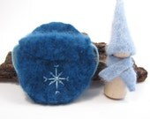 Blue Cashmere Snowflake Gnome, Waldorf Wooden Toy