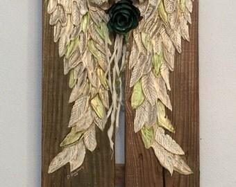 Angel Wings Wall Decor Boho Chic Repurposed wood sign