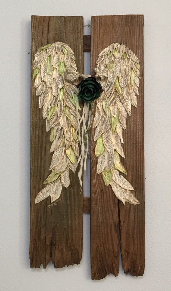 Wall Decorations Boho : Angel wings wall decor boho chic repurposed by