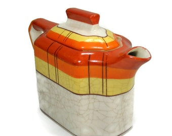 Teapot Orange Yellow Plaid made in Japan