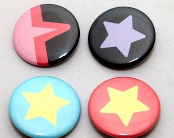 Crystal Gems Pinback Buttons, Set of 4