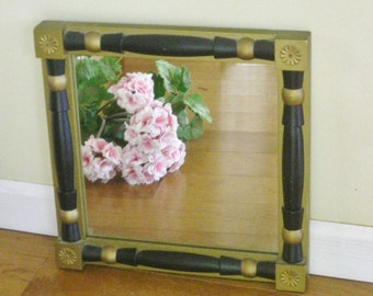 Vintage Square Black and Gold Mirror, Square Painted Wood Federal Mirror, Mid Century 1960s Decorative Wall Hanging Mirror