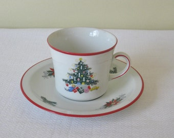 Vintage Christmas Teacup and Saucer, Schumann Bavaria Germany, Noel Christmas Tree Pattern with Red Trim