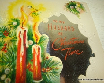 Vintage Christmas Greeting Card, To My Husband, Two Red Candles, Foil, Mid Century, Pastelletes,  American Greeting Card Company  (824-15)