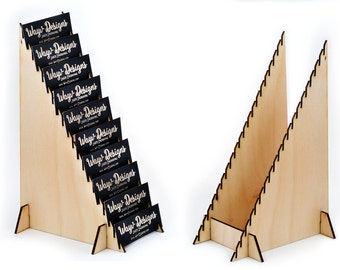 Vertical Business Card Holder Laser Engraved from Birch Wood Collapsible Display 20 Full Standard or Mini Half Size Gift Cards BCDV-8525