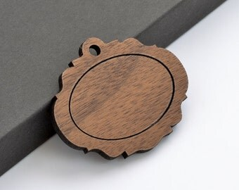 """1"""" x 1.5"""" Embroidery Hoop Victorian Frame Horizontal Pendants 25mmx38mm Laser Cut from Walnut Wood EHPVFH-2538-W"""