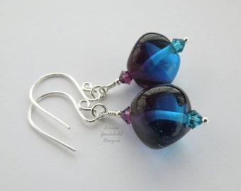 Midnight earrings, sterling silver earrings, lampwork earrings, blue and purple earrings