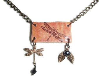Ceramic Dragonfly Pendant.  Dragonfly Necklace. Boho. Dragonfly. Brass Chain. Charms