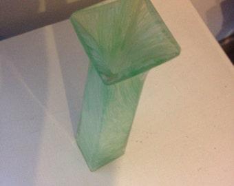 Square rim vintage green murano art glass vase Italy