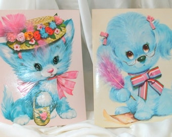 Dog and cat puppy and kitten 1970s large birthday card prints Coby matching pair