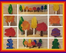 Rainbow forest, wooden trees, Waldorf trees, Montessori trees, color learning toys, imaginative play, open ended play, tree decor, rainbow