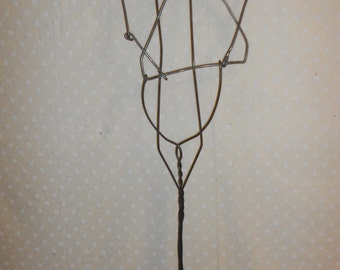 Antique Rug Beater, Looped metal and Wood, Primitive Rustic Wall Art