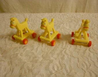 McDonald's Toy Horse Muppets babies  set of 3 horses on wheels