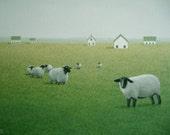 SHEEP Painting ORIGINAL Acrylic Fine Art Landscape Painting Farm Barn Animal Folk Art Painting Country Folk Art Gift Primitive Rustic