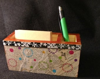 Memo and Pen Holder - Wooden with Encyclopedia Decoupage