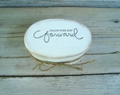 Wedding ring oval box in white with ivory lace . distressed ring box stamped . rustic wedding ring box