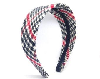 Wide Houndstooth Plaid Headband - Black, Winter White and Red Preppy Plaid - Big Girl Headband, Teen Headband or Adult Headband
