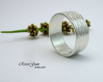 Very Wide Sterling Silver Ring, Contemporary, Modern, Shimmer & Hammered Finish, Handmade by RiverGum Jewellery