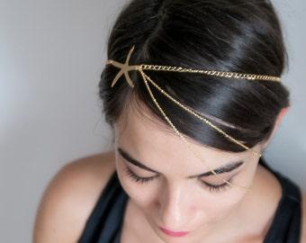 Chain Headband | Seastar Hair Jewelry | Headpiece For Party | Boho Head Chain | Bridal Hair Chain | Bohemian Head Piece | Bachelorette