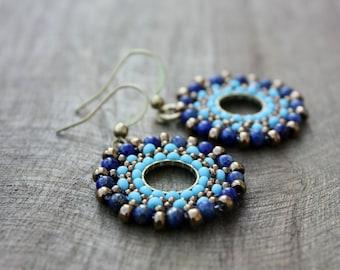 Turquoise and Lapis Lazuli Beaded Hoop Dangle Earrings, Beaded Hoops, Boho Jewelry, Bohemian, Summer, Blue beaded earrings