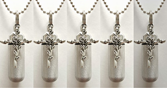 Set of FIVE - Brushed Silver Anointing Oil Holders with Vials and Rose Cross - with 5 Velvet Pouches 5  Ball Chains, & Fill Kit