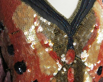 Vintage AMAZING Butterfly Blouse - Sequined Beaded Blouse Top - 1970s Disco Silk Blouse