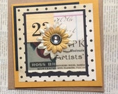 Cheerful Handmade Card in Yellows and Black Polka Dots